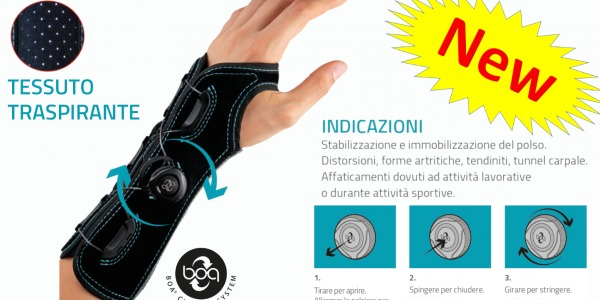 Wristbrace with BOA® System closure: press and turn. No laces, no straps to tighten or spread